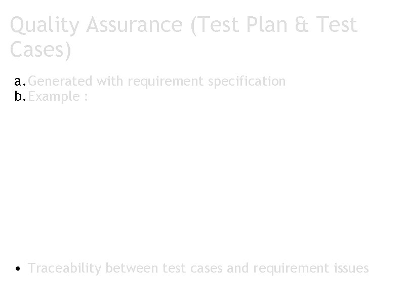 Quality Assurance (Test Plan & Test Cases) a. Generated with requirement specification b. Example