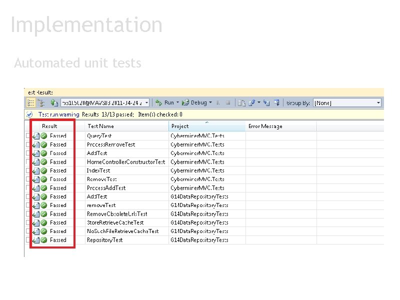 Implementation Automated unit tests