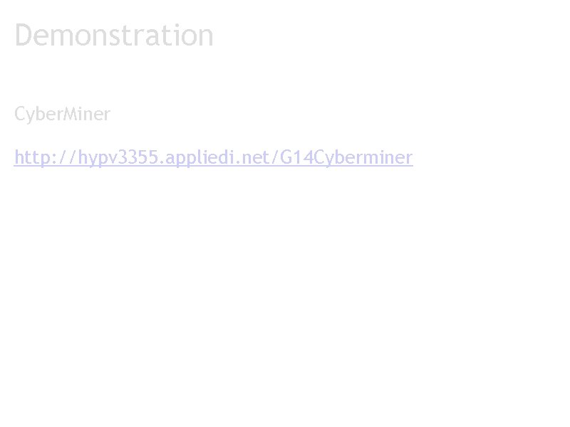 Demonstration Cyber. Miner http: //hypv 3355. appliedi. net/G 14 Cyberminer