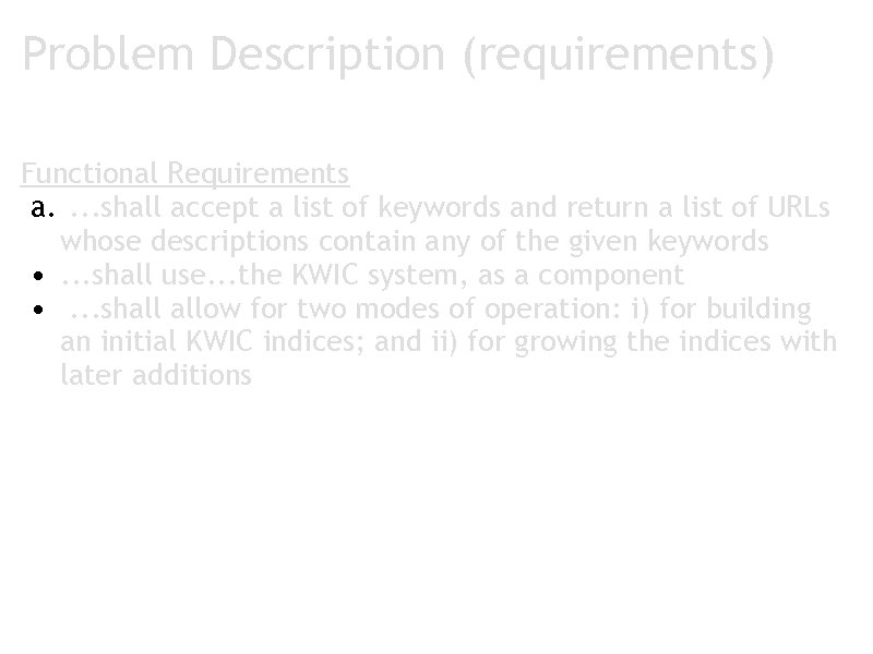 Problem Description (requirements) Functional Requirements a. . shall accept a list of keywords and
