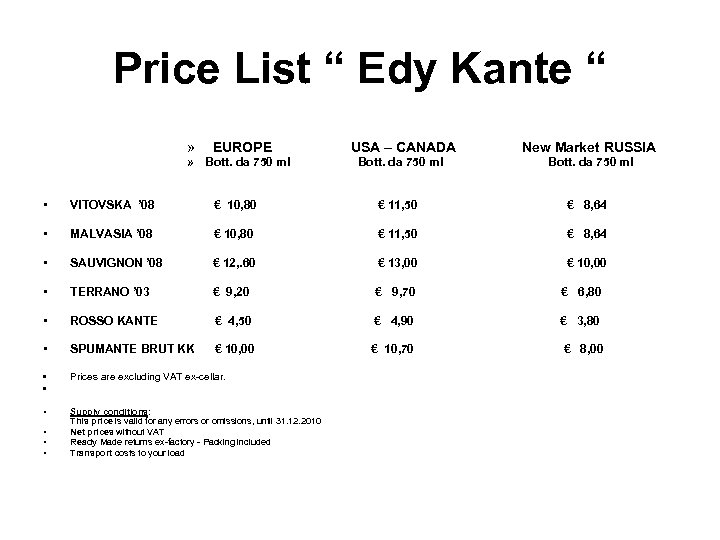 "Price List "" Edy Kante "" » EUROPE USA – CANADA New Market RUSSIA"