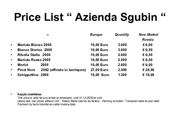 "Price List "" Azienda Sgubin "" » Europe Quantity New Market Russia € 9,"