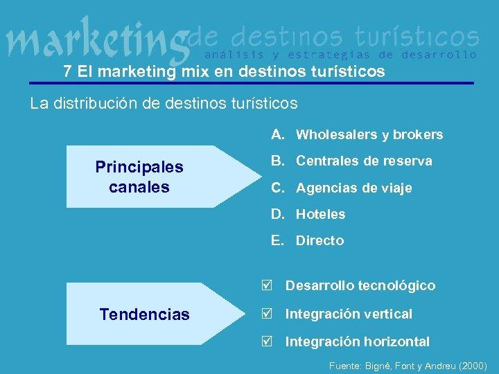 7 El marketing mix en destinos turísticos La distribución de destinos turísticos A. Wholesalers