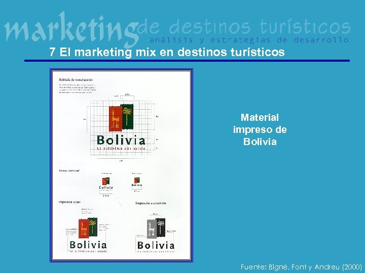 7 El marketing mix en destinos turísticos Material impreso de Bolivia Fuente: Bigné, Font