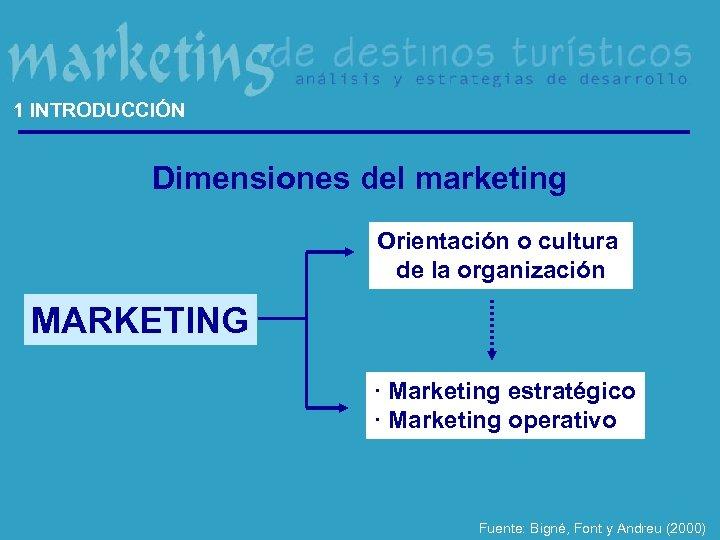 1 INTRODUCCIÓN Dimensiones del marketing Orientación o cultura de la organización MARKETING · Marketing