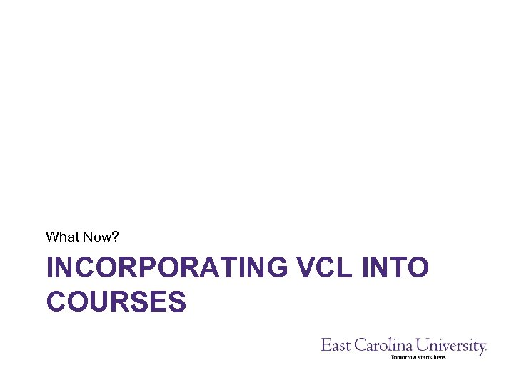 What Now? INCORPORATING VCL INTO COURSES