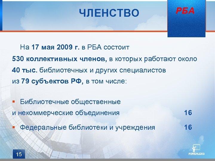 ЧЛЕНСТВО РБА На 17 мая 2009 г. в РБА состоит 530 коллективных членов, в