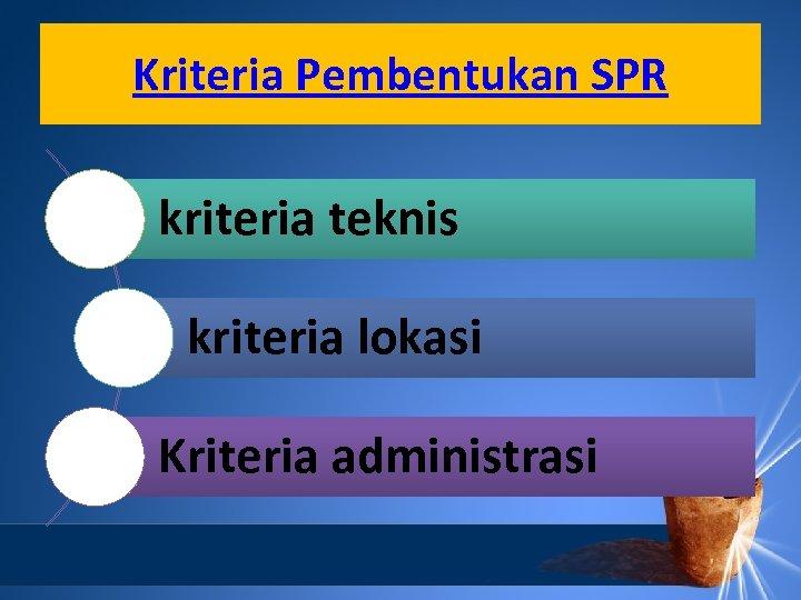 Kriteria Pembentukan SPR kriteria teknis kriteria lokasi Kriteria administrasi