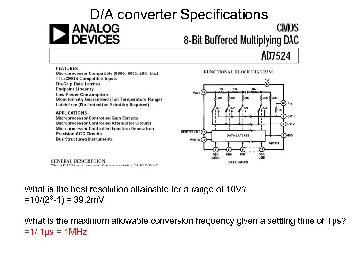 D/A converter Specifications What is the best resolution attainable for a range of 10