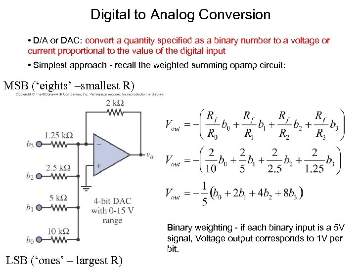 Digital to Analog Conversion • D/A or DAC: convert a quantity specified as a
