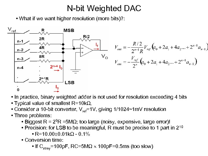 N-bit Weighted DAC • What if we want higher resolution (more bits)? : •
