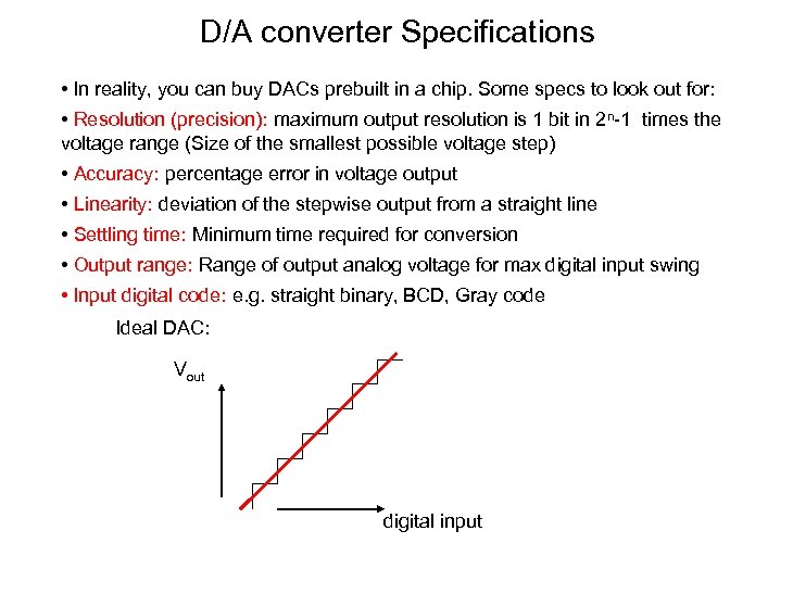 D/A converter Specifications • In reality, you can buy DACs prebuilt in a chip.