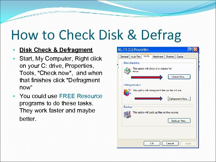 How to Check Disk & Defrag • Disk Check & Defragment • Start, My