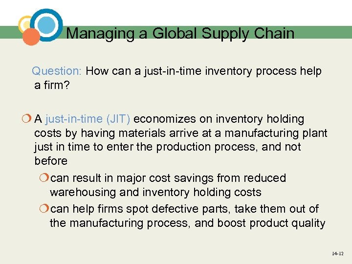 Managing a Global Supply Chain Question: How can a just-in-time inventory process help a