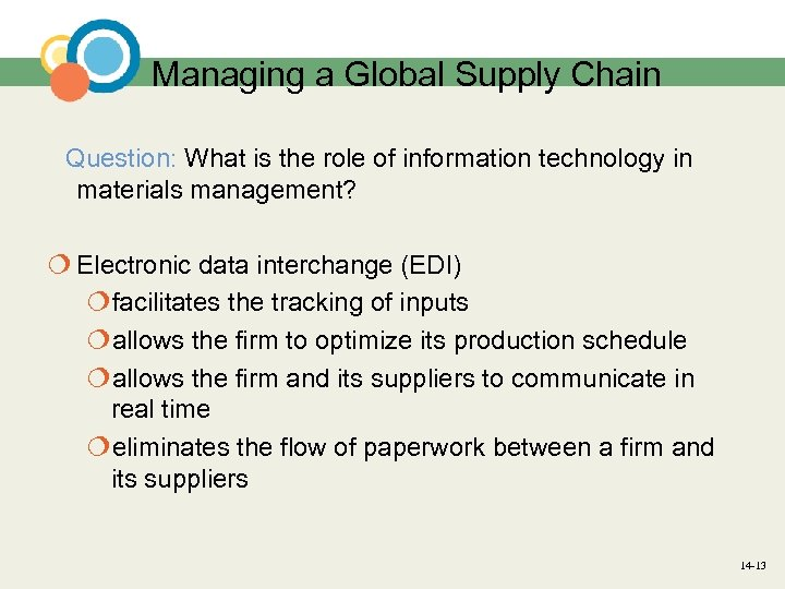 Managing a Global Supply Chain Question: What is the role of information technology in