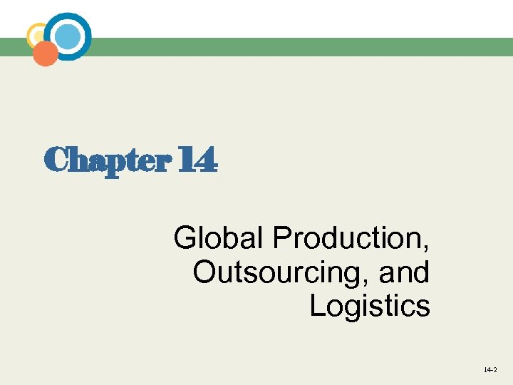 Chapter 14 Global Production, Outsourcing, and Logistics 14 -2