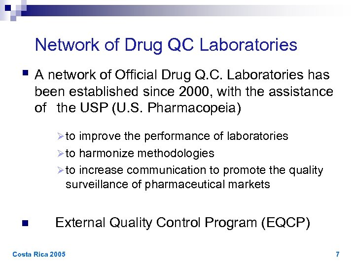 Network of Drug QC Laboratories § A network of Official Drug Q. C.