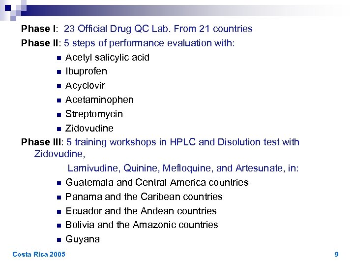 Phase I: 23 Official Drug QC Lab. From 21 countries Phase II: 5 steps