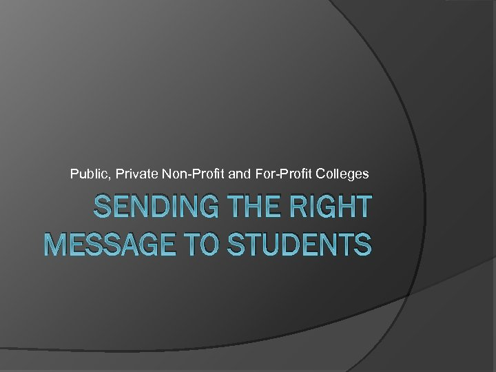 Public, Private Non-Profit and For-Profit Colleges SENDING THE RIGHT MESSAGE TO STUDENTS