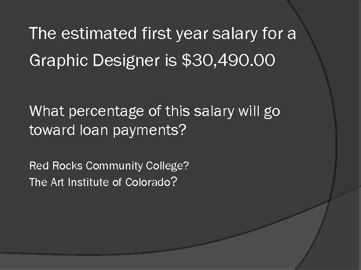 The estimated first year salary for a Graphic Designer is $30, 490. 00 What