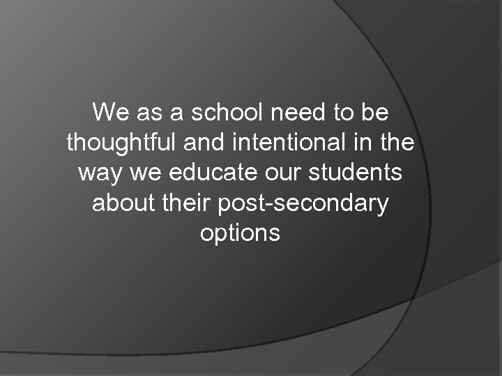 We as a school need to be thoughtful and intentional in the way we