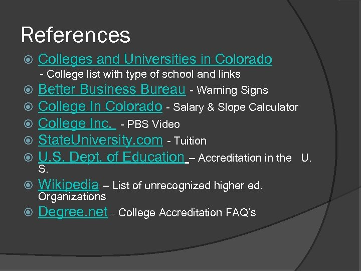 References Colleges and Universities in Colorado - College list with type of school and