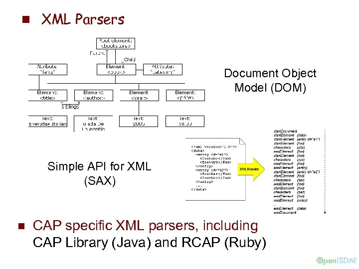 n XML Parsers Document Object Model (DOM) Simple API for XML (SAX) n CAP