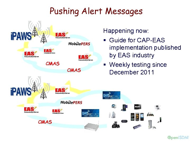Pushing Alert Messages CMAS Happening now: § Guide for CAP-EAS implementation published by EAS