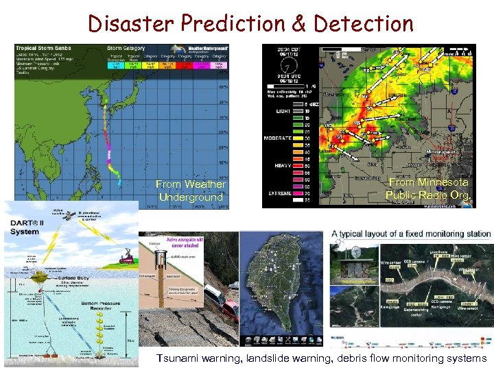 Disaster Prediction & Detection From Weather Underground From Minnesota Public Radio Org. Tsunami warning,