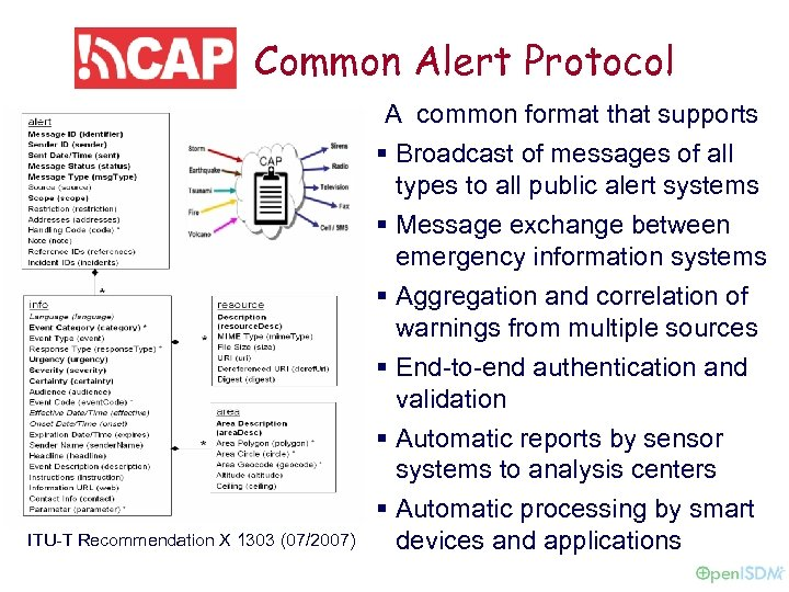 Common Alert Protocol A common format that supports § Broadcast of messages of all