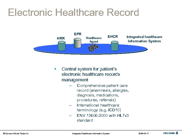 Electronic Healthcare Record EPR Healthcare Agent HRR § Integrated healthcare Information System Central system