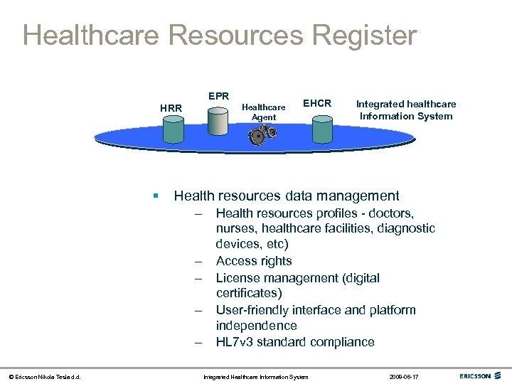 Healthcare Resources Register EPR Healthcare Agent HRR § Integrated healthcare Information System Health resources