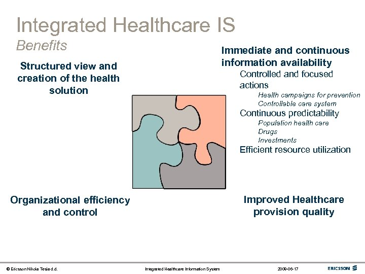 Integrated Healthcare IS Benefits Immediate and continuous information availability Structured view and creation of