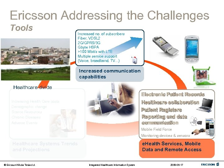Ericsson Addressing the Challenges Tools Increased no. of subscribers Fiber, VDSL 2 2 G/GPRS/3