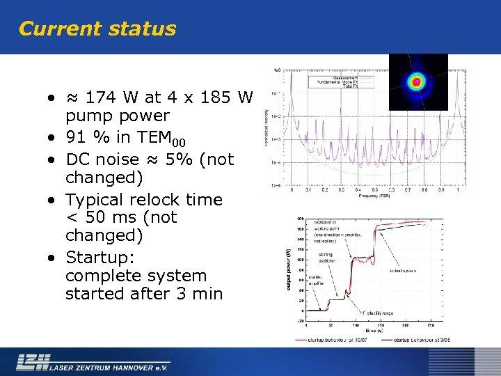 Current status • ≈ 174 W at 4 x 185 W pump power •