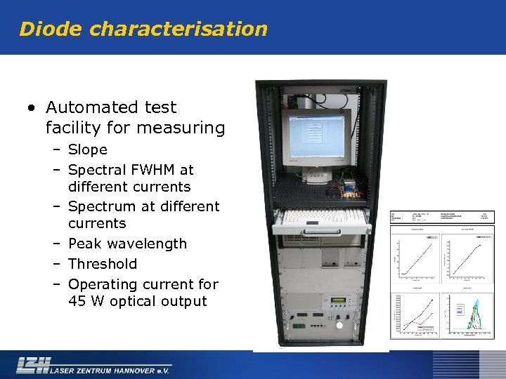 Diode characterisation • Automated test facility for measuring – Slope – Spectral FWHM at