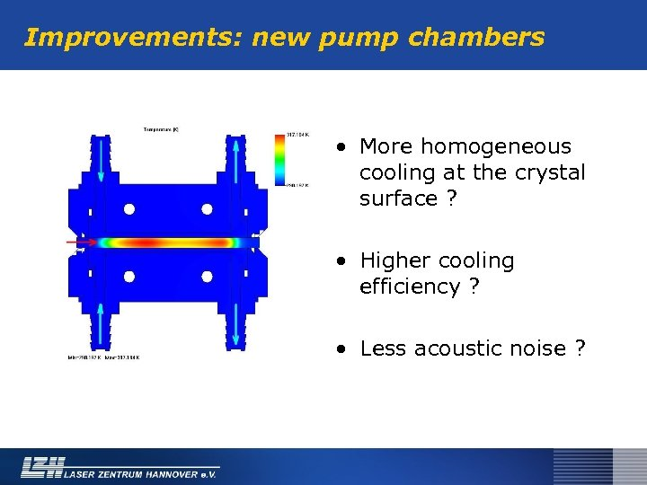 Improvements: new pump chambers • More homogeneous cooling at the crystal surface ? •