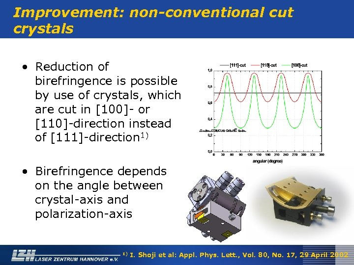 Improvement: non-conventional cut crystals • Reduction of birefringence is possible by use of crystals,