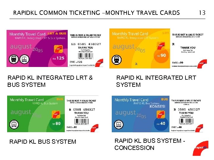 RAPIDKL COMMON TICKETING -MONTHLY TRAVEL CARDS RAPID KL INTEGRATED LRT & BUS SYSTEM RAPID