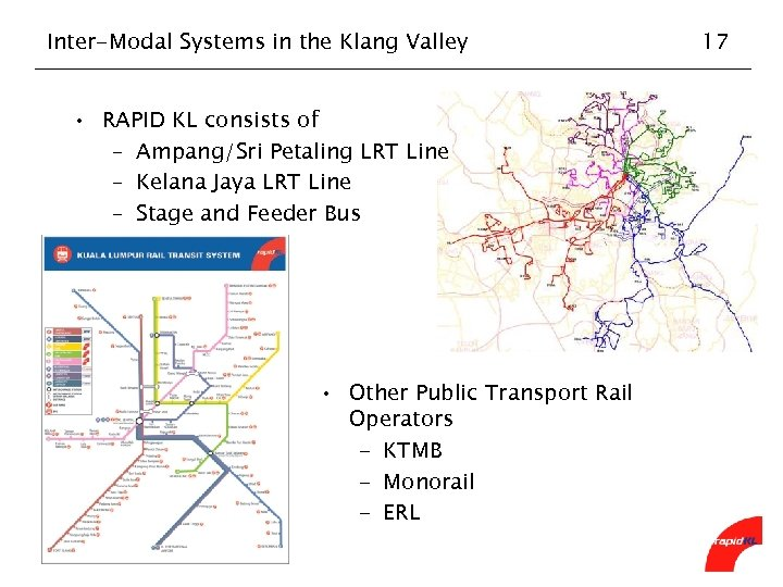 Inter-Modal Systems in the Klang Valley • RAPID KL consists of – Ampang/Sri Petaling