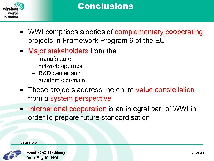Conclusions · WWI comprises a series of complementary cooperating projects in Framework Program 6