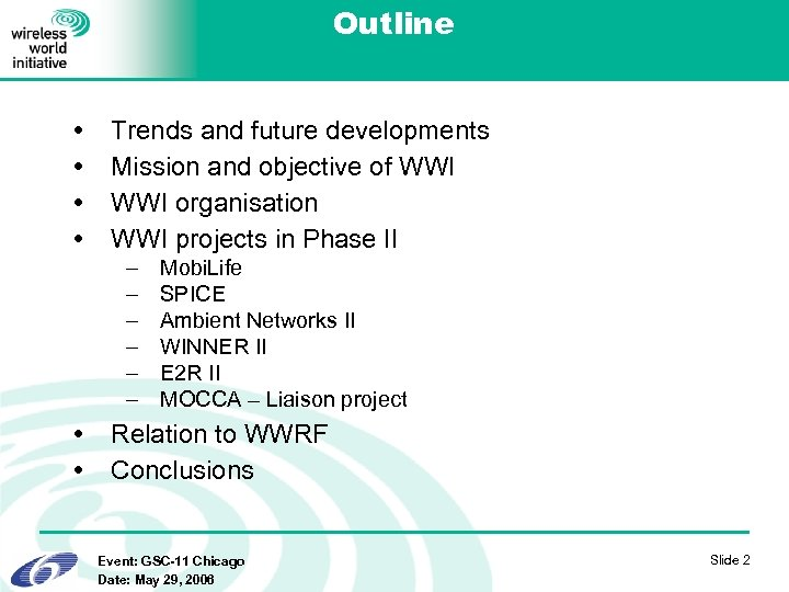 Outline Trends and future developments Mission and objective of WWI organisation WWI projects in