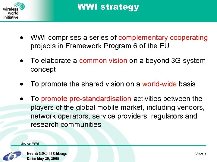 WWI strategy · WWI comprises a series of complementary cooperating projects in Framework Program