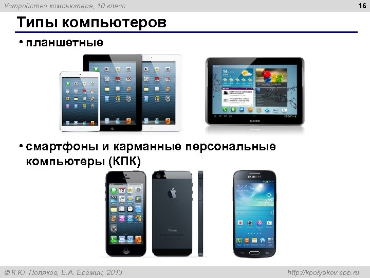 Устройство компьютера, 10 класс 16 Типы компьютеров • планшетные • смартфоны и карманные персональные