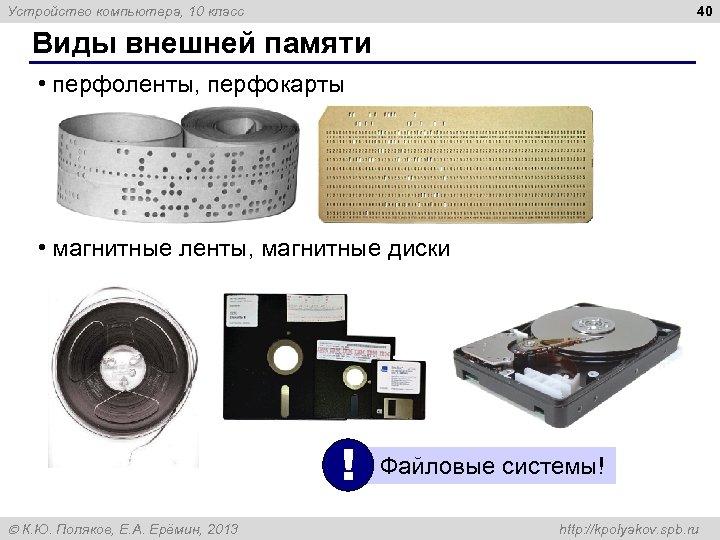 40 Устройство компьютера, 10 класс Виды внешней памяти • перфоленты, перфокарты • магнитные ленты,