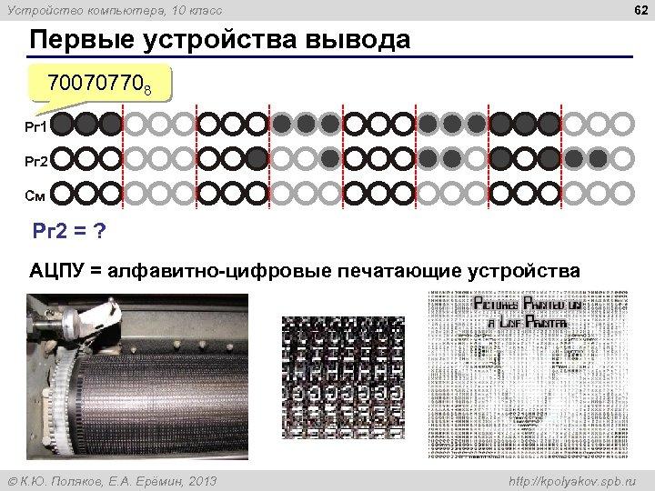 62 Устройство компьютера, 10 класс Первые устройства вывода 700707708 Рг 1 Рг 2 См