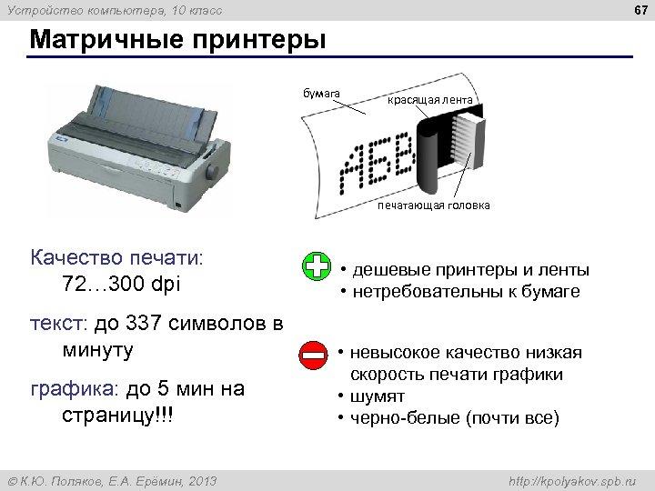 67 Устройство компьютера, 10 класс Матричные принтеры бумага красящая лента печатающая головка Качество печати: