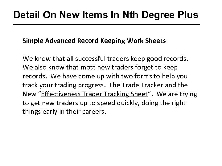 Detail On New Items In Nth Degree Plus Simple Advanced Record Keeping Work Sheets