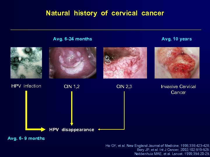 Natural history of cervical cancer Avg. 6 -24 months HPV infection CIN 1, 2