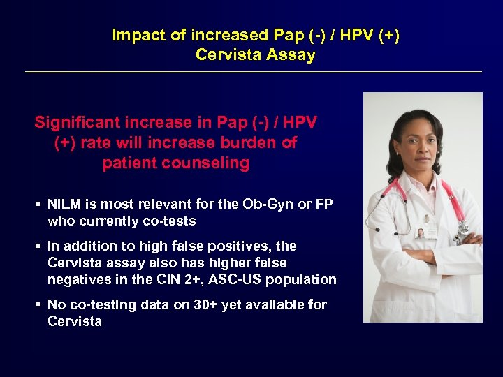 Impact of increased Pap (-) / HPV (+) Cervista Assay Significant increase in Pap